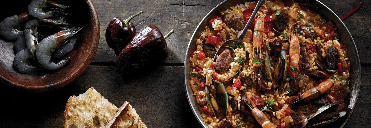 Hero image for Paella with Chipotle Bratwurst