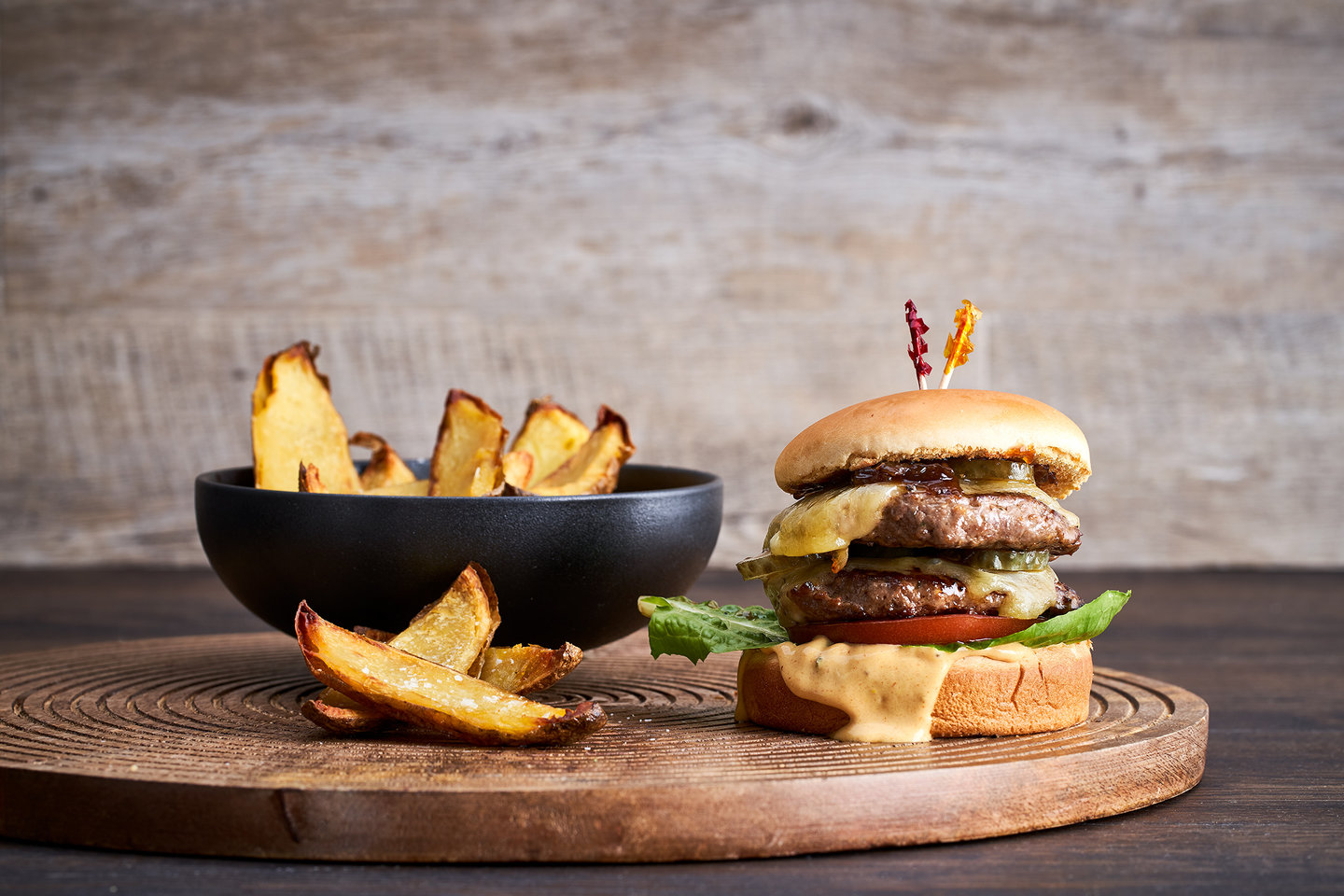 Hero image for Classic grass-fed Wagyu cheese burger with crispy potato skins