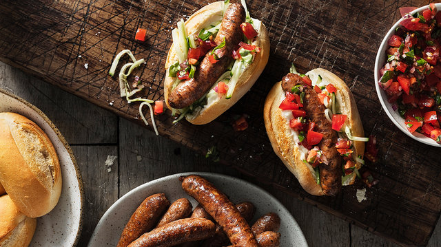 Teaser image for First Light gourmet venison sausages with pickled cucumber & tomato salsa