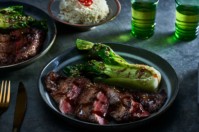 Teaser image for Char-grilled First Light grass-fed Wagyu rump steak with garlic bok choy