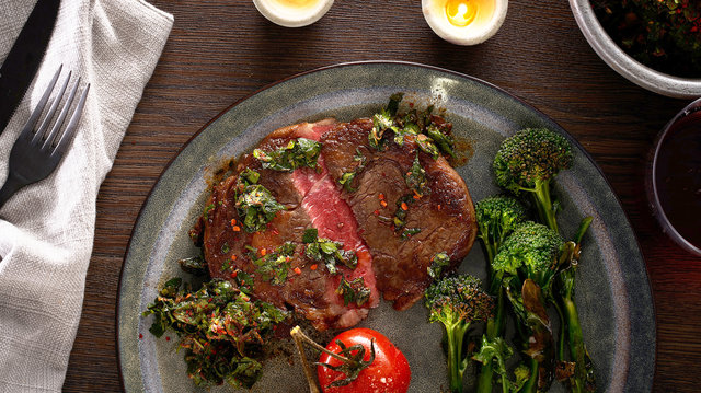 Teaser image for First Light grass-fed Wagyu ribeye steak with chimichurri & charred broccoli