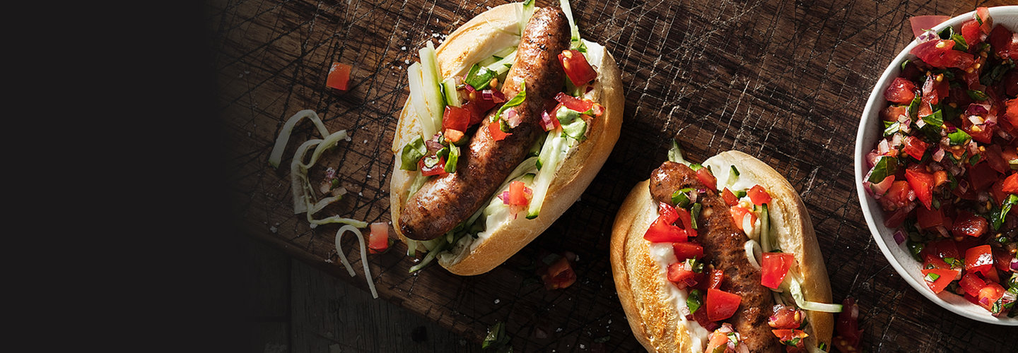 Hero image for First Light gourmet venison sausages with pickled cucumber & tomato salsa